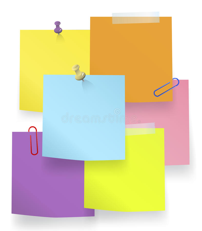 Vector of Multi-Colored Sticky Notes Concept.  vector illustration