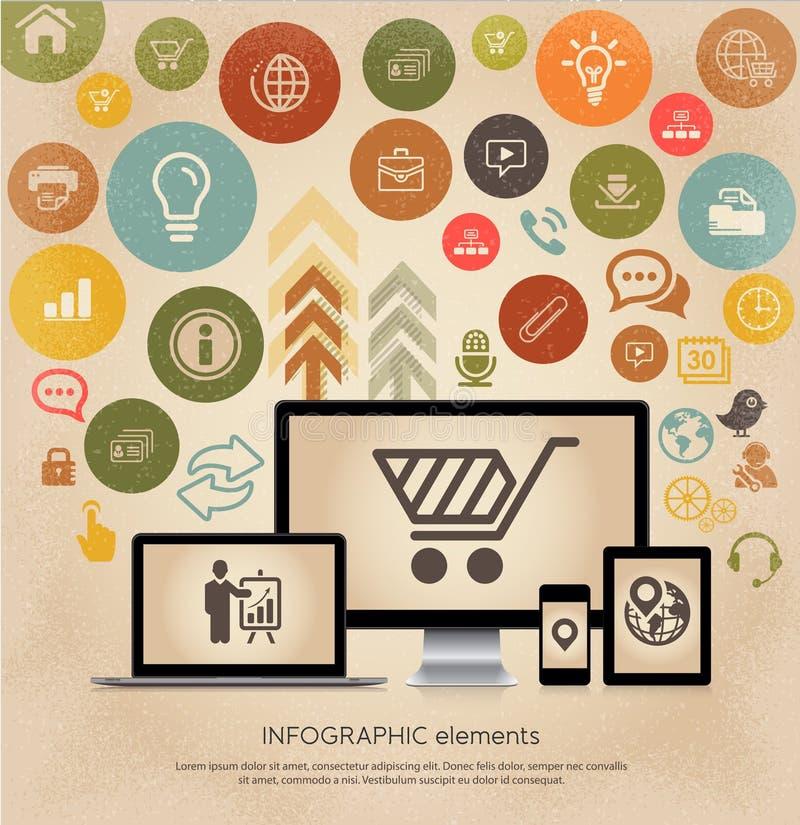 Vector multiapparaten met de interfacesymbolen van Webpictogrammen stock illustratie