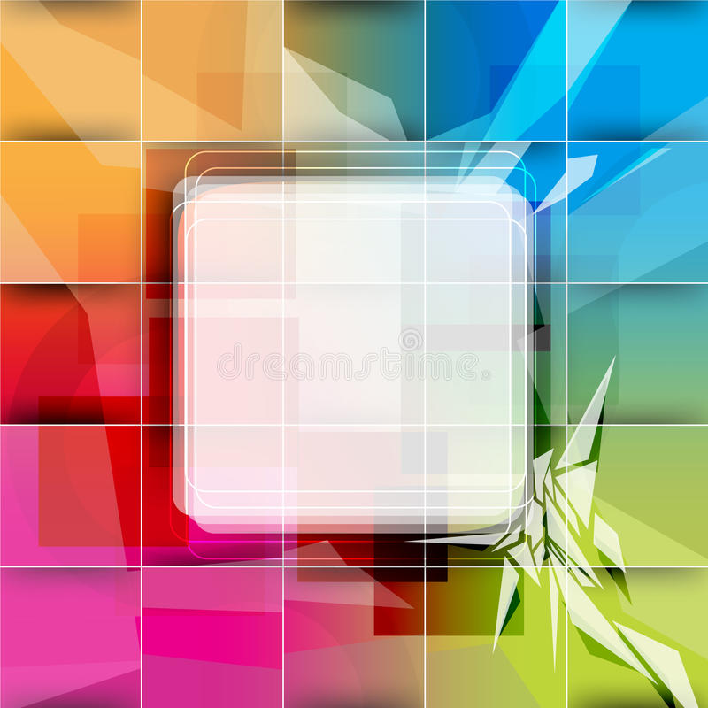 Vector multicolor background with square frame royalty free illustration