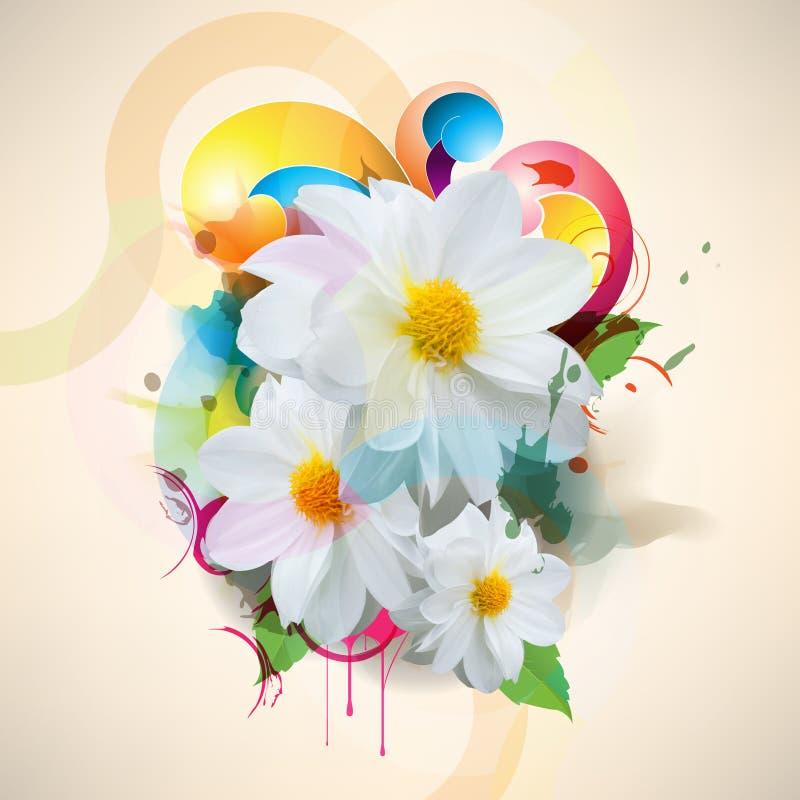 Vector multicolor grunge flower concept background stock illustration