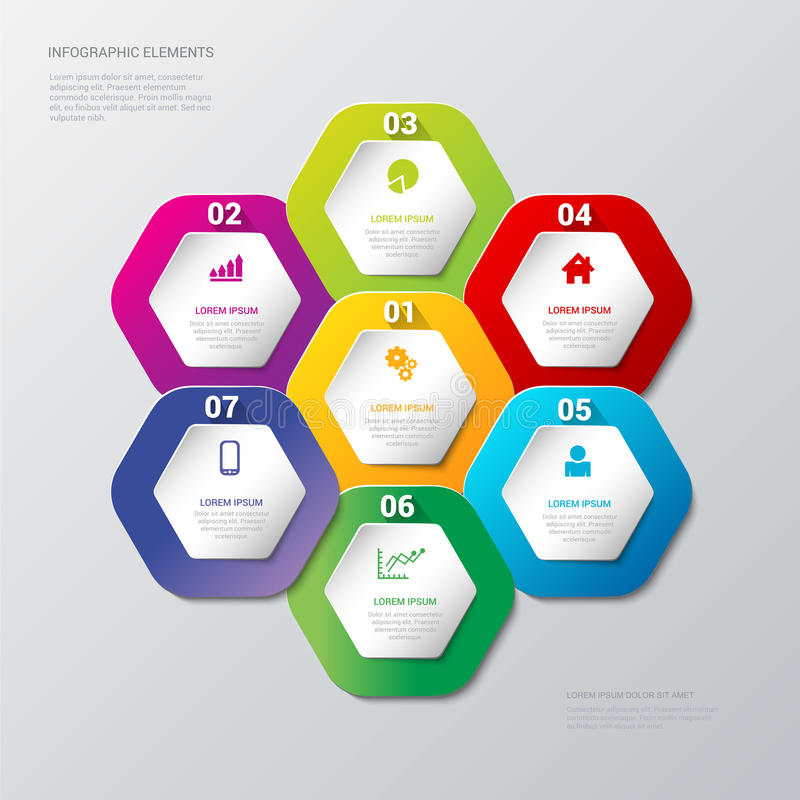 Vector multicolor honey cell hexagonal process steps background stock illustration