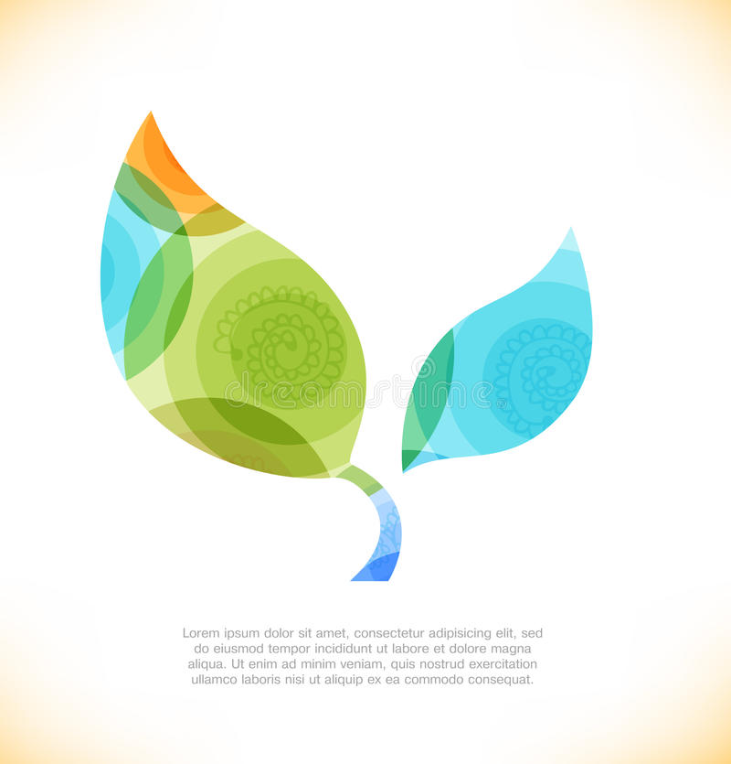 Vector multicolor leaf. Eco shiny banner vector illustration