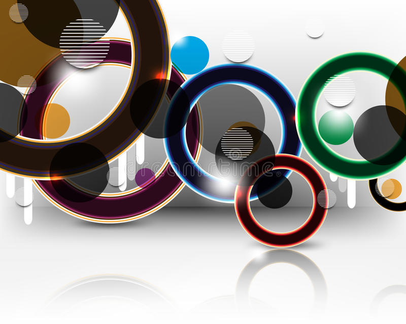 Vector multicolor rings background royalty free illustration