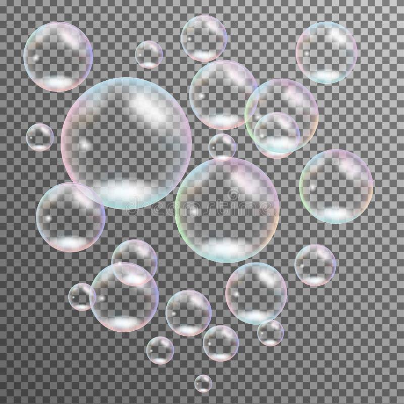 Vector multicolor transparente realista de las burbujas de jabón