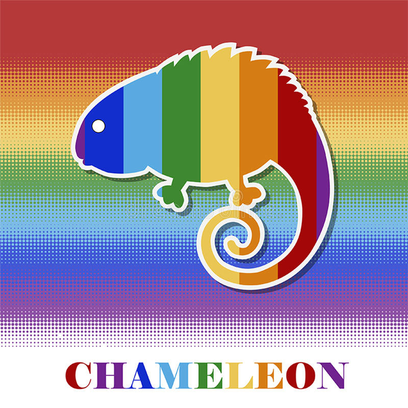 Vector multicolored chameleon stock photography