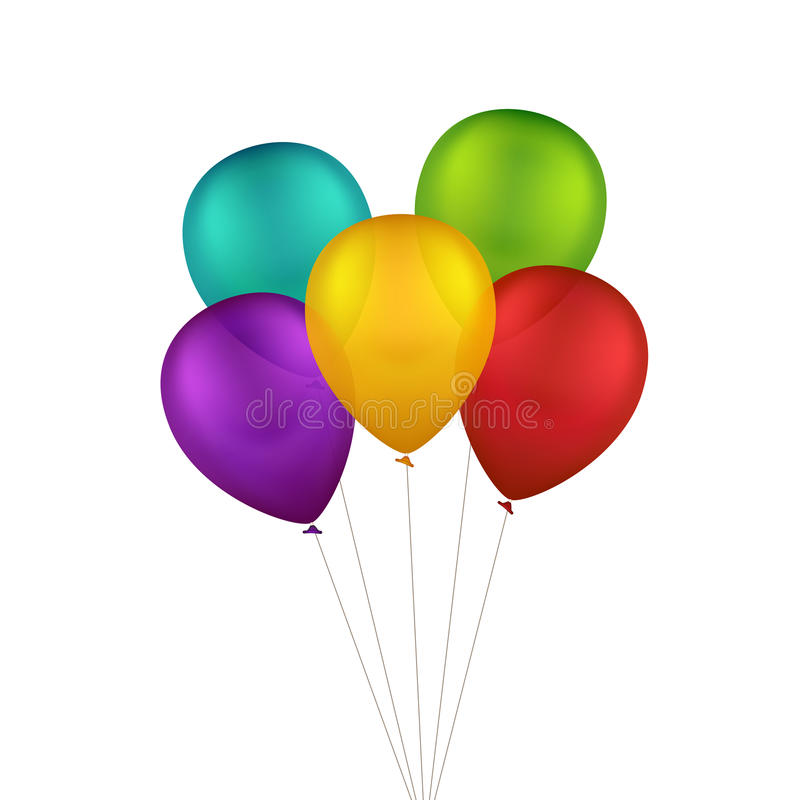 Vector Multicolored Colorful Balloons. Isolated on White Background vector illustration