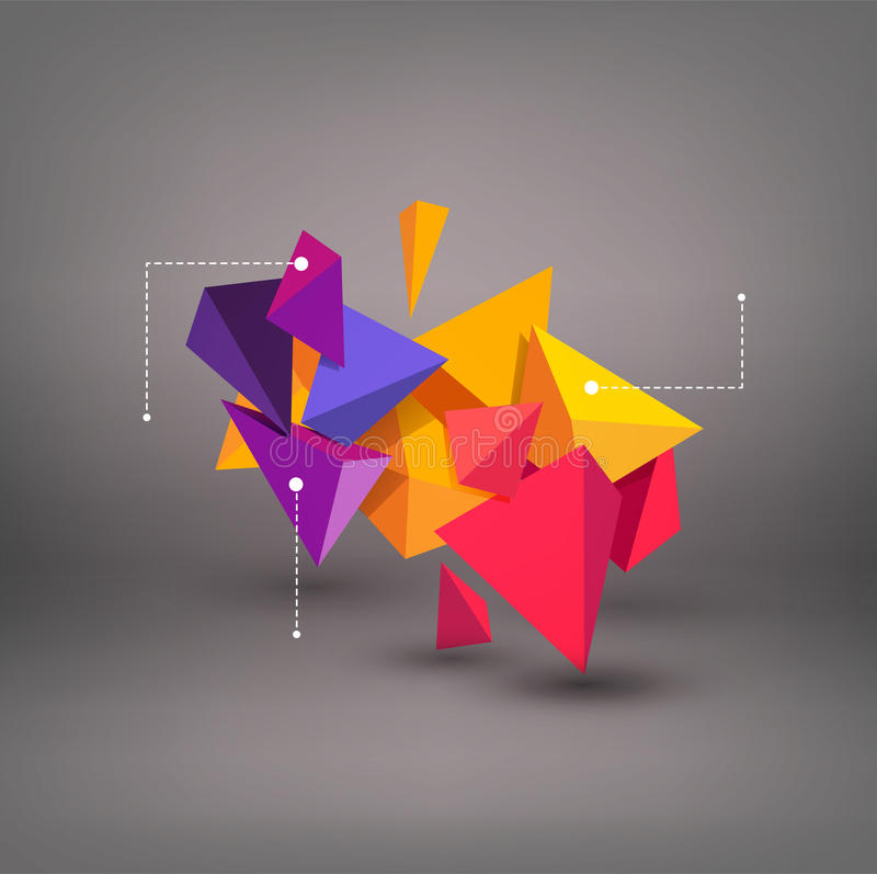 Vector multicolored 3d triangles. abstraction. Element for modern design and infographics. royalty free illustration