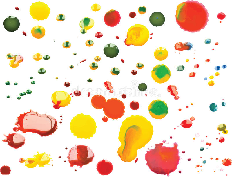 Vector Multicoloured Paint Splats and Blobs. Vector Colourful Multicoloured Paint Splats and Blobs stock illustration