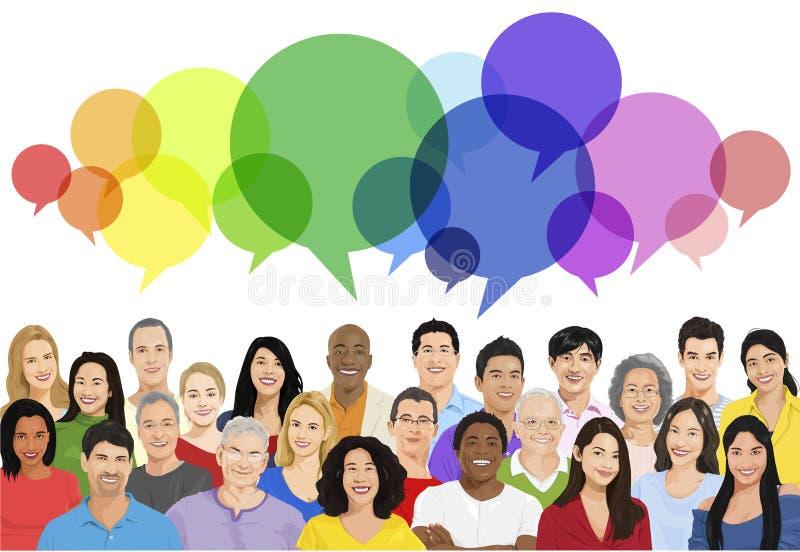 Vector of Multiethnic Diverse Cheerful People.  stock illustration