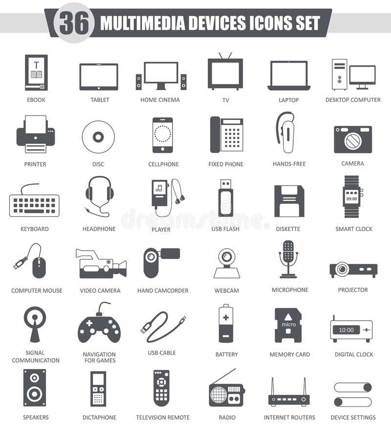 Vector Multimedia devices black icon set. Dark grey classic icon design for web. royalty free illustration
