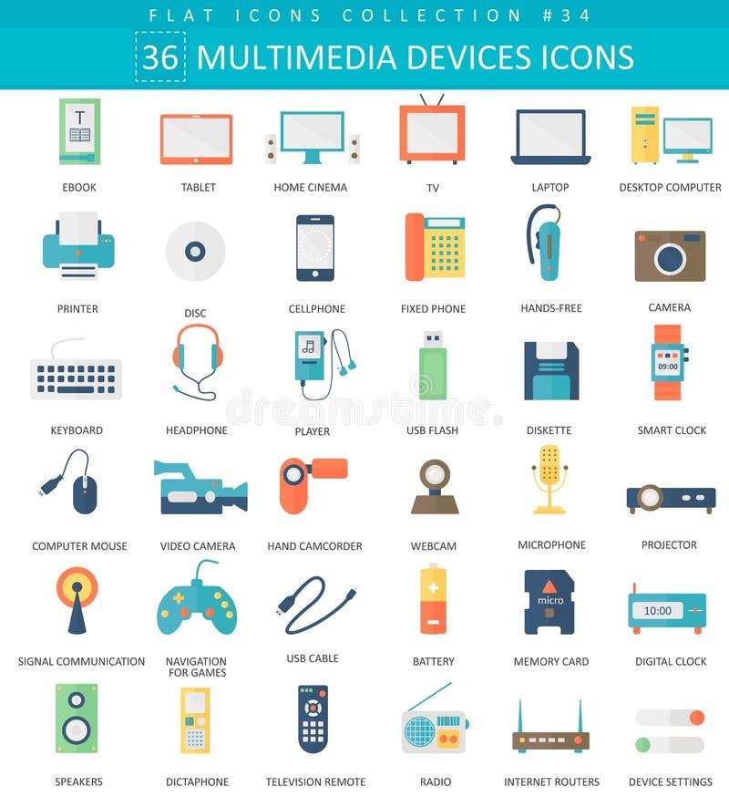 Vector Multimedia devices flat icon set. Elegant style design. stock illustration