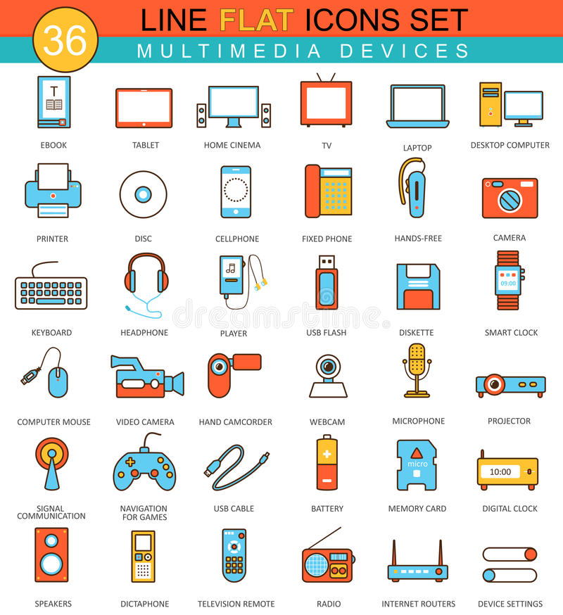 Vector Multimedia devices flat line icon set. Modern elegant style design for web. stock illustration