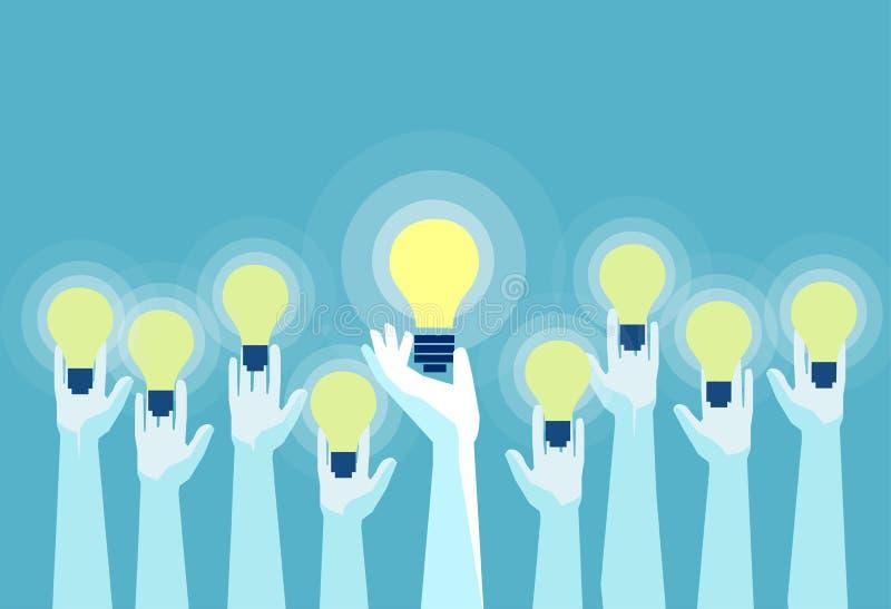 Vector of multiple hands holding bright lightbulbs stock illustration