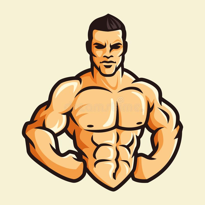 Vector of muscle man flexing show body confidence, color vintage retro, fitness gym bodybuilder royalty free illustration