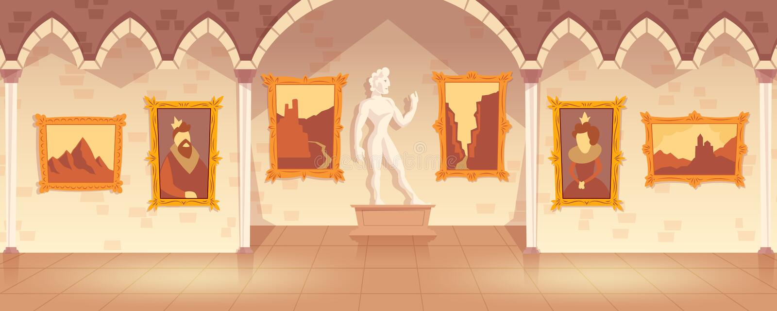 Vector cartoon art gallery in medieval palace. Vector museum exhibition of paintings on walls and antique statue, art gallery in medieval palace. Empty castle stock illustration