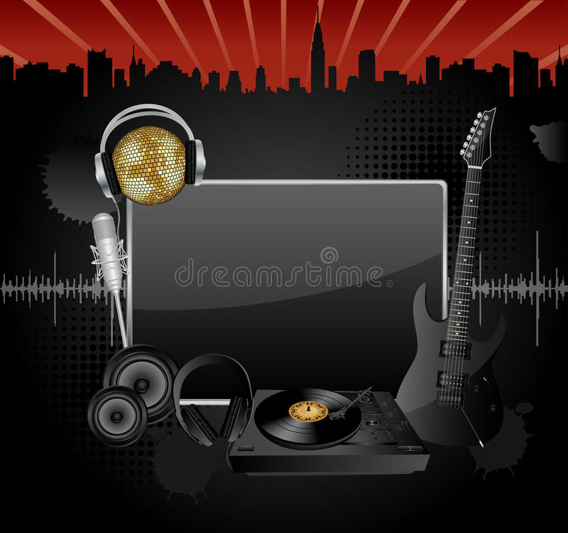 Vector music background. Vector background with the several music objects and banner for your text vector illustration