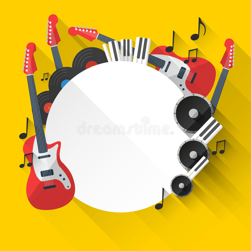 Vector Music Background in Flat style design stock illustration