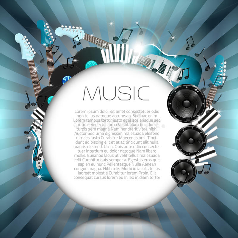 Vector Music Background with Instruments and Music Equipment stock illustration