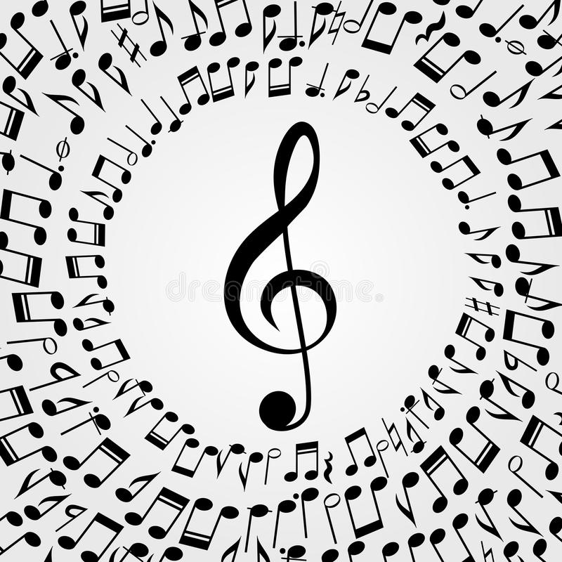 Vector music frame background: melody, notes, key. vector illustration