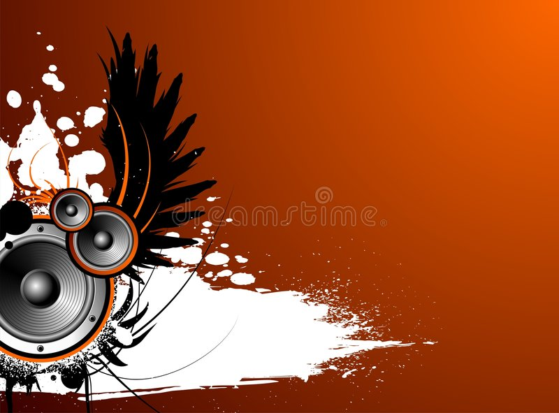 Vector music illustration with wing and blot. On red background stock illustration