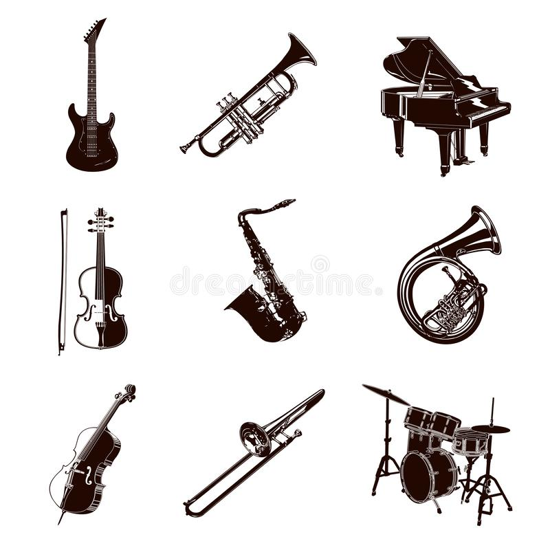 Vector Music Instruments royalty free illustration