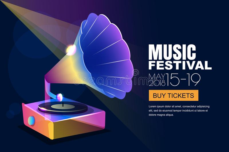 Vector music jazz festival, glowing neon poster or banner background. Colorful 3d style musical vinyl gramophone. vector illustration