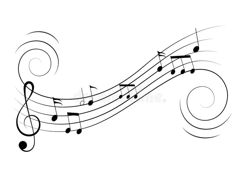 Vector music notes treble clef flow on music staff. Music notes, treble clef, music staff in swirl motion flow. Vector musical design decoration element. Classic stock illustration