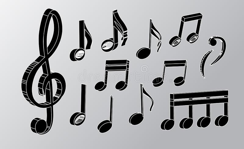 Vector music notes and violin key in realism style isolated on light background. 3d vector notes for design. vector graphics. Realistic musical notes and treble royalty free illustration