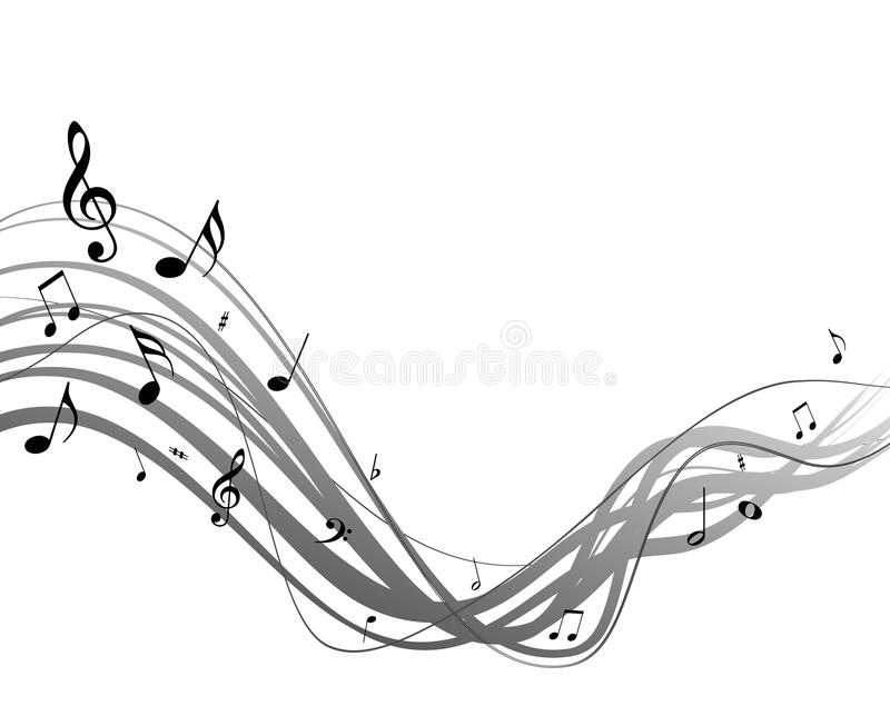 Vector music stream. High quality vector music stream with notes vector illustration