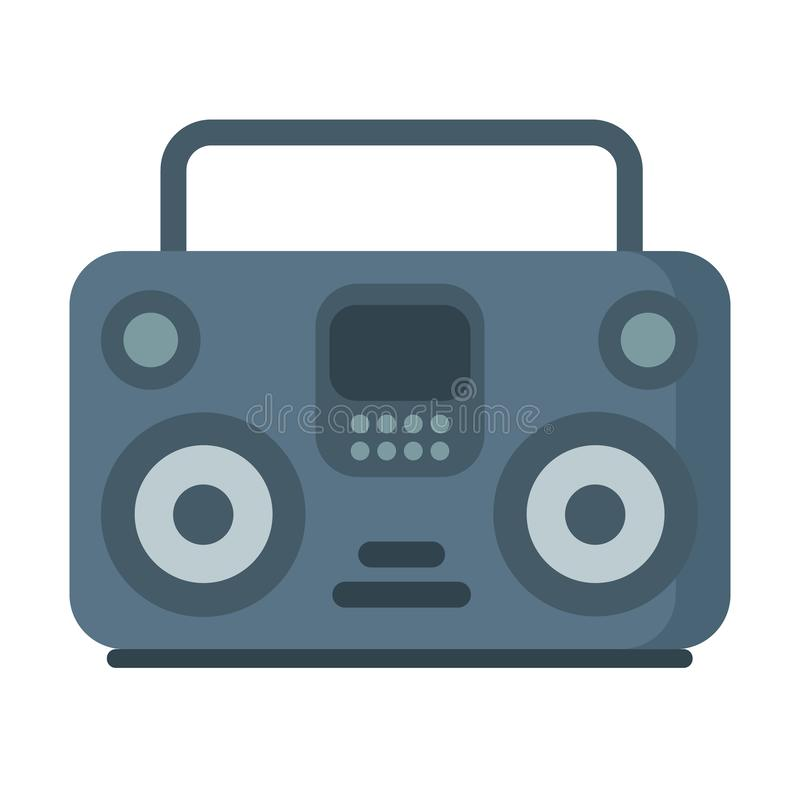 Vector music tape recorder, boombox icon on white royalty free illustration