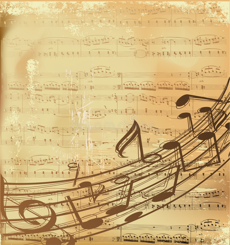 Vector musical background. Musical notes on old grunge paper vector illustration