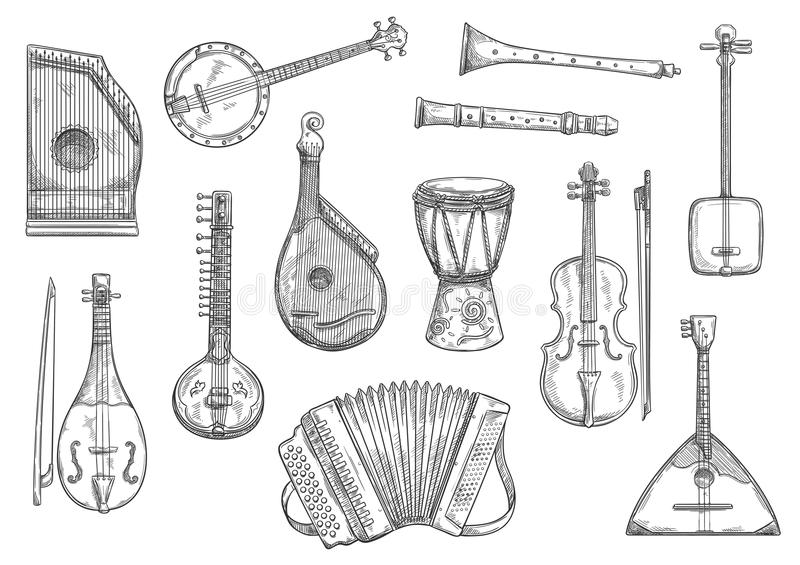 Vector musical instruments sketch design. Musical instruments sketches set. Vector button accordion, reed pipe or folk bandura and African jembe drum, Japanese vector illustration