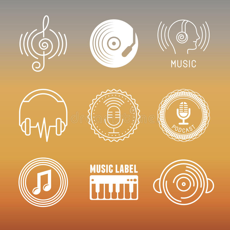 Vector musical logos and icons vector illustration