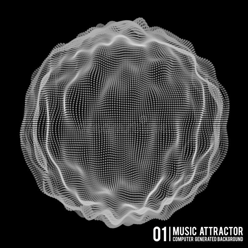 Vector Musikhintergrund Große Daten-Partikel-Fluss-Sichtbarmachung Infographic futuristische Illustration der Wissenschaft Schall stock abbildung