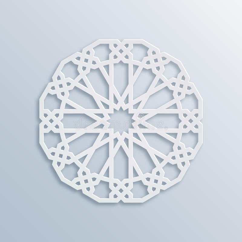 Vector muslim mosaic, persian motif. Mosque decoration element. Islamic geometric pattern. Elegant white ornament royalty free illustration