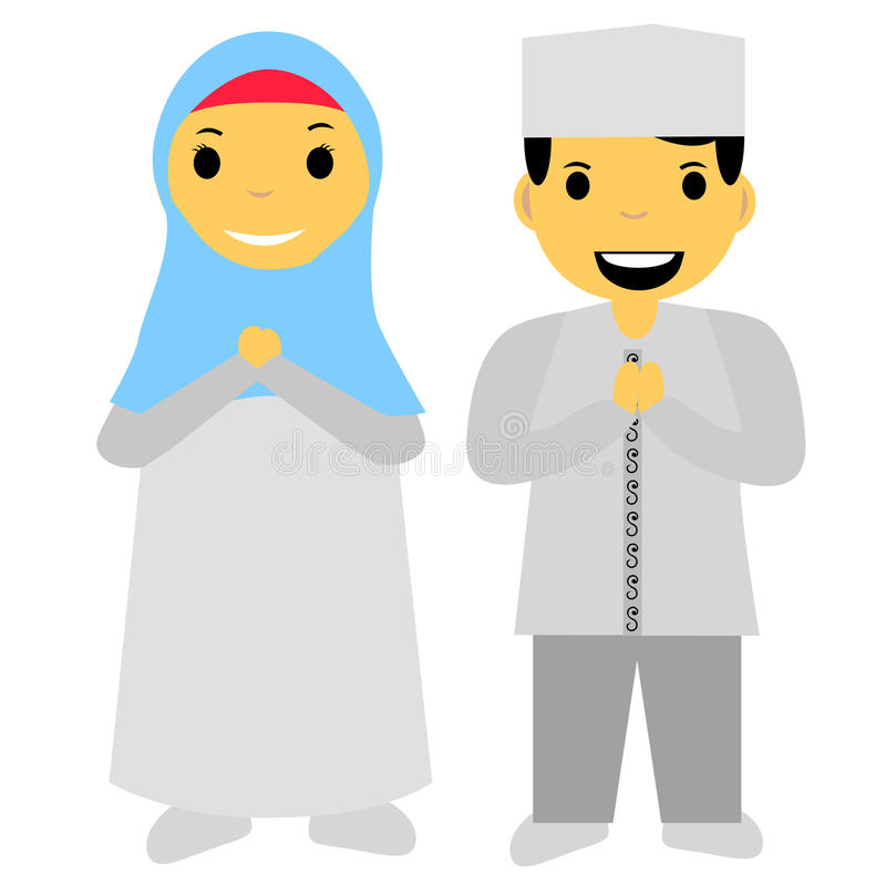 Muslim and muslimah Islam boy and girl isolated on white. Vector muslim and muslimah Islam boy and girl isolated on white stock illustration