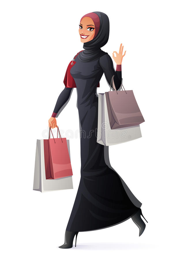 Vector Muslim woman walking with shopping bags and showing OK. Beautiful young smiling Muslim Arab woman in abaya and hijab walking with shopping bags and vector illustration