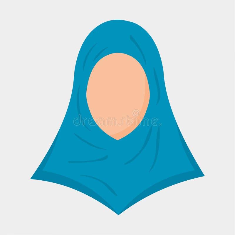 Vector muslim women wearing blue hijab flat avatar icon royalty free illustration