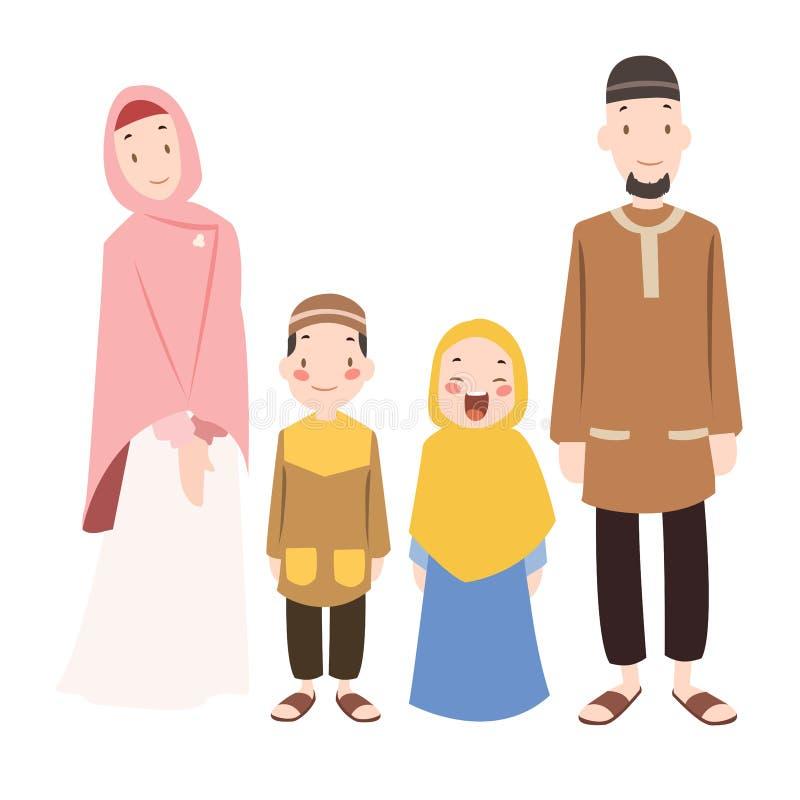 Vector - muslims family cartoon illustration. Vector illustration of muslims family cartoon illustration stock illustration