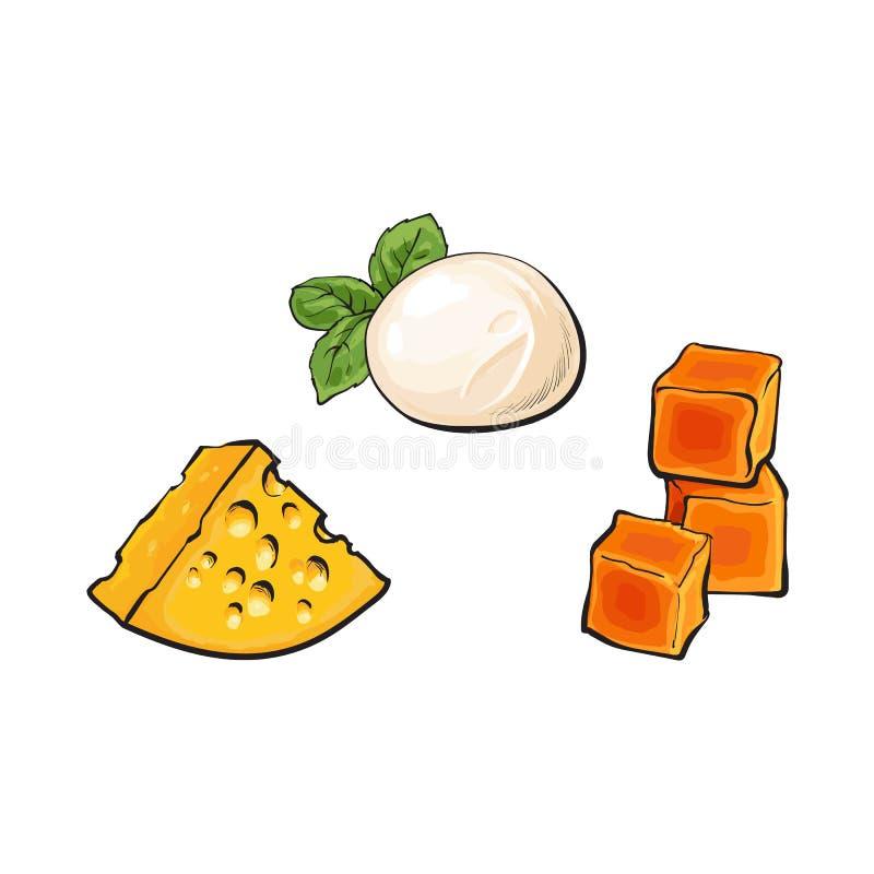 Vector a mussarela do esboço, queijo Cheddar, queijo do emmental ilustração royalty free