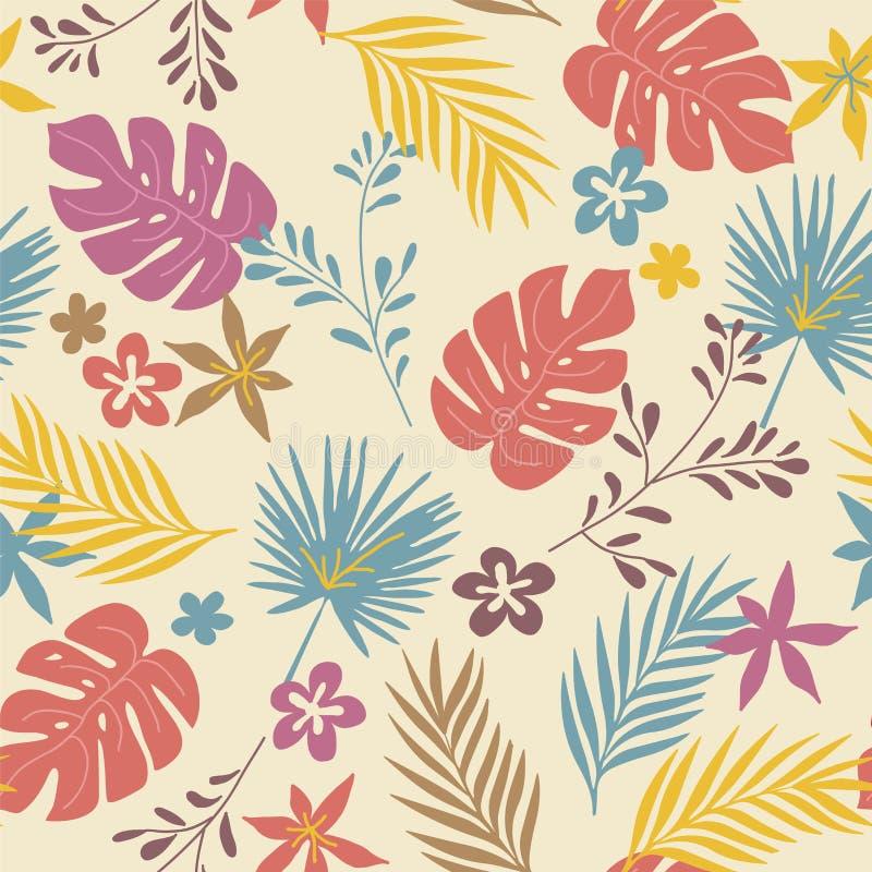 Vector Muster mit wilden tropischen Anlagen und Blumen stock abbildung