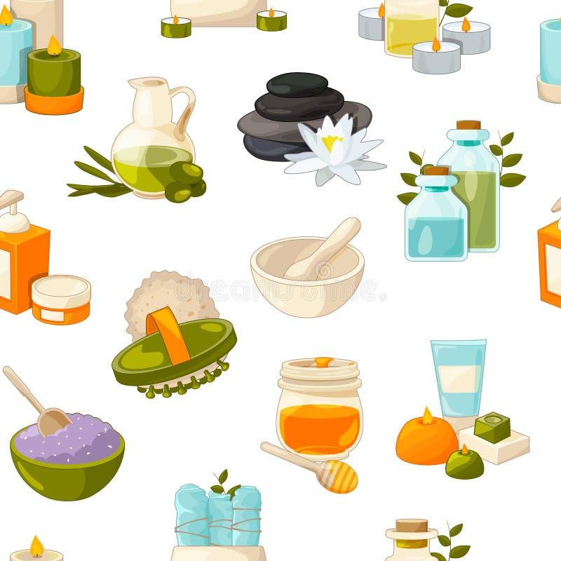 Vector Muster- oder Hintergrundillustration mit Karikaturschönheits- und -badekurortelementen stock abbildung