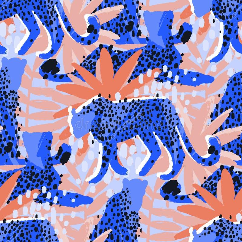 Vector Muster von den Geparden, die durch exotische Anlagen umgeben werden stock abbildung