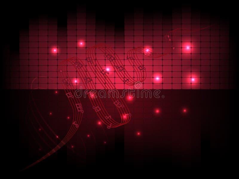 Vector muzikale abstracte achtergrond met equaliser en nota's vector illustratie