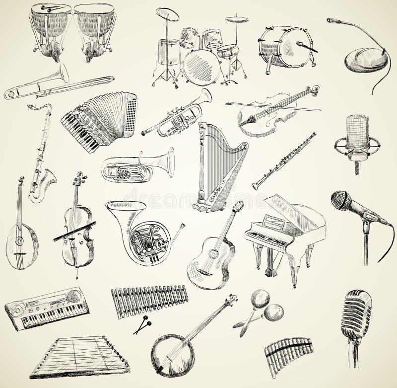 Vector muzikale instrumenten stock illustratie