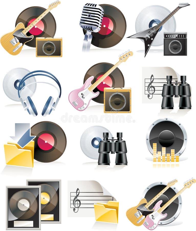 Vector muzikale pictogramreeks stock illustratie