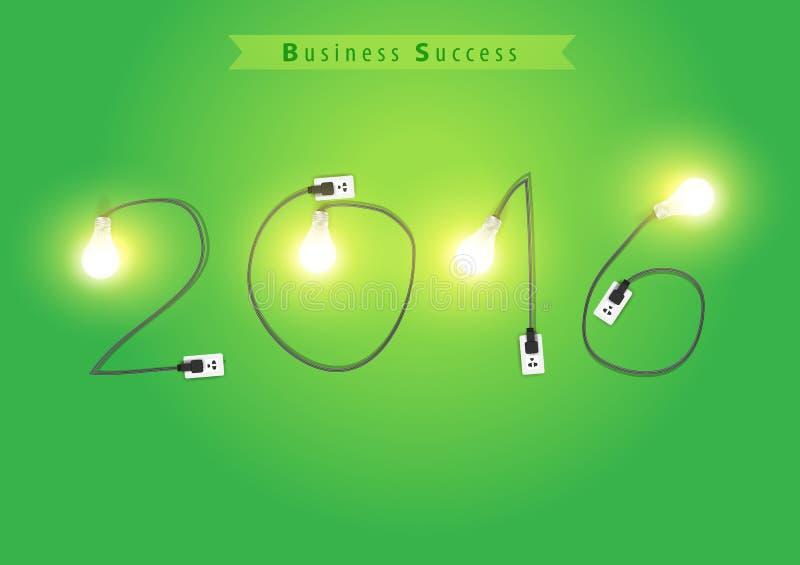 Vector números do ano novo 2016 com ideia criativa da ampola ilustração royalty free