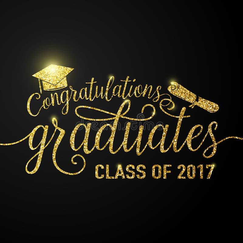 Vector na classe preta dos graduados 2017 das felicitações do fundo das graduações ilustração stock