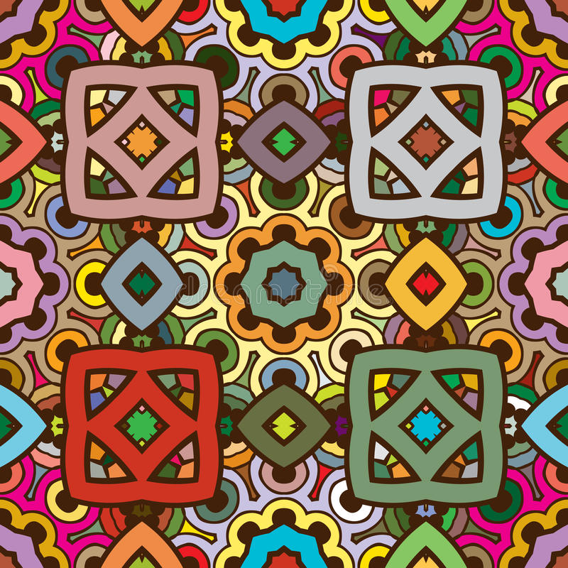 Vector naadloos abstract caleidoscooppatroon in aardkleuren royalty-vrije illustratie