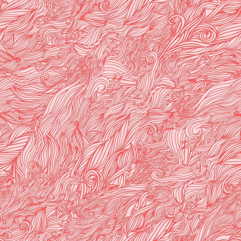 Vector naadloos abstract hand-drawn patroon met haren, golven of wolken vector illustratie